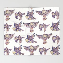 Owls in Flight – Mauve Palette Throw Blanket