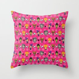 Ghouly Girls Throw Pillow