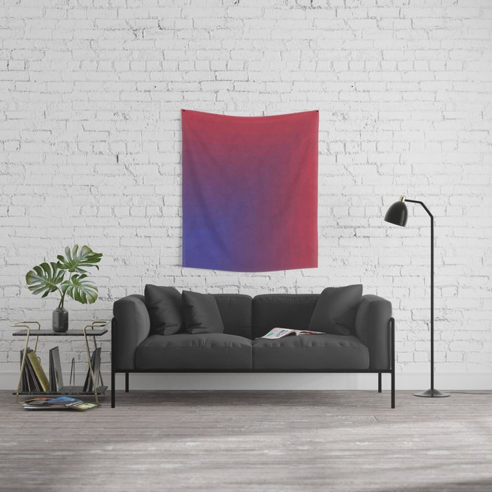 Abstract Rectangle Games - Gradient Pattern between Dark Blue and Moderate Red Wall Tapestry