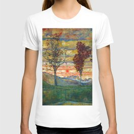 Four Trees with Red Leaves at Sunrise landscape painting by Egon Schiele T-shirt