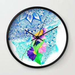 Abstract modern hand drawn white mandala painted pink green watercolor floral boho pattern Wall Clock