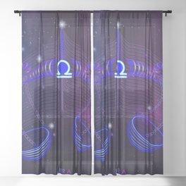 Zodiac neon signs — Libra Sheer Curtain