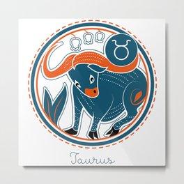 Taurus Zodiac Sign Metal Print