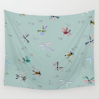 bugs Wall Tapestries featuring Painted Bugs by Guildown