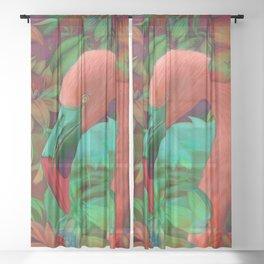 """Tropical Floral Retro Flamenco"" Sheer Curtain"