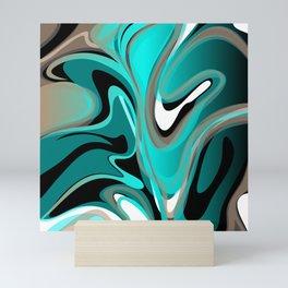 Liquify 2 - Brown, Turquoise, Teal, Black, White Mini Art Print