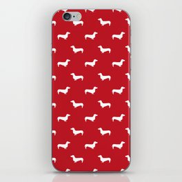 Dachshund pattern minimal red and white dog lover home decor gifts accessories silhouette iPhone Skin