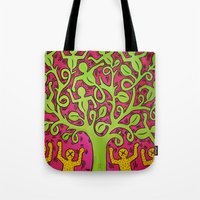 keith haring Tote Bags featuring Copy of Tree of Life - Keith Haring by JeyJey Artworks