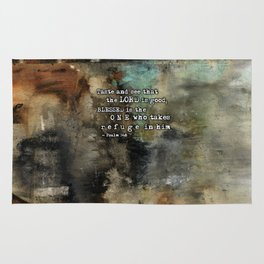 Psalm 34:8 Scripture Abstract Art Bible Verse Paintings Rug