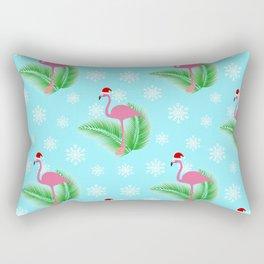 Flamingo at winter with snowflakes Rectangular Pillow