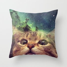 Cat Staring into Space Throw Pillow