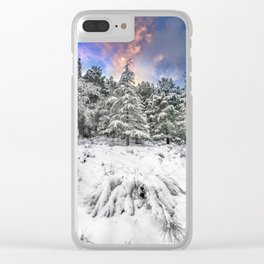 """""""Mountain Light IV"""" Snowy Forest At Sunset Clear iPhone Case"""