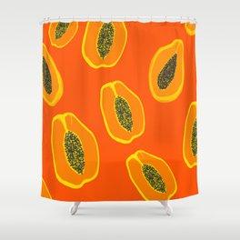 Sarah - papaya Shower Curtain