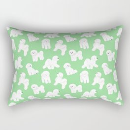 Bichon Frise Pattern (Green Background) Rectangular Pillow