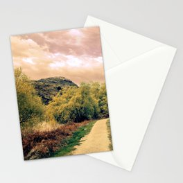 Peaceful Trail At Sunrise Through Scenic Countryside Stationery Cards