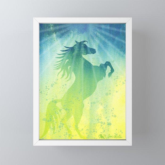 Spirited Horse Rearing into the Light. Watercolor dream. Framed Mini Art Print