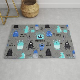 Cute Silly Little Monsters Blue Gray Pattern Rug