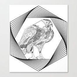 falcon inside hexagon Canvas Print