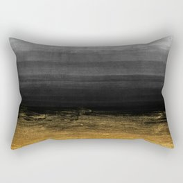 Black and Gold grunge stripes on modern grey concrete abstract background - Stripe -Striped Rectangular Pillow