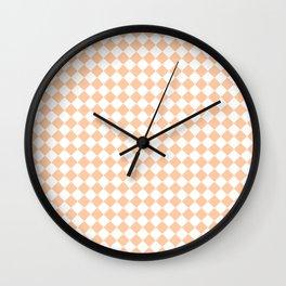 White and Deep Peach Orange Diamonds Wall Clock