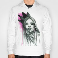 downton abbey Hoodies featuring Watercolour Fashion Illustration Portrait Abbey Lee by Elise Reid
