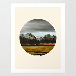 Iceland Landscape Grass Orange Sand & Grey Mountains Round Frame Photo Art Print