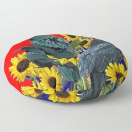 DECORATIVE RED ART SUNFLOWERS & CROW/RAVENS COVEN Floor Pillow