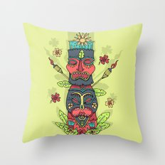 Tiki totem Throw Pillow