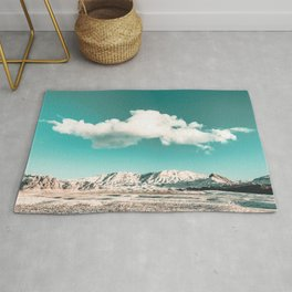 Vintage Desert Snow Cloud // Scenic Desert Landscape in Winter Fluffy Clouds Snow Mountains Cacti Rug