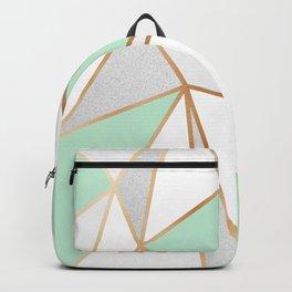 Mint Green, Grey & Gold Geo Backpack