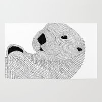 otter Area & Throw Rugs featuring Otter by Meg Lang