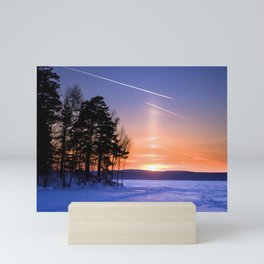 Сolumn of light and contrails Mini Art Print