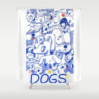 dogs Shower Curtains featuring Dogs✧ by Natali Koromoto