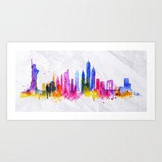 Color New York Skyline 01 Art Print