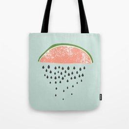 Watermelon raining seeds. Tote Bag