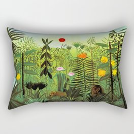 """Henri Rousseau """"Exotic Landscape with Lion and Lioness in Africa"""", 1903-1910 Rectangular Pillow"""