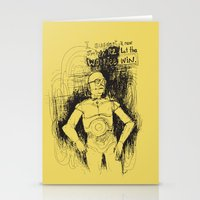 c3po Stationery Cards featuring C3PO by Samantha Chiusolo