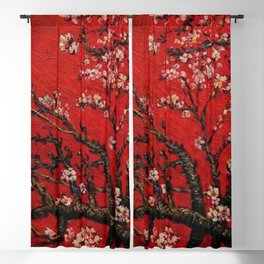 Almond Tree in Blossom - Red Motif by Vincent van Gogh Blackout Curtain