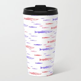 Red and Blue Fish Pattern Travel Mug