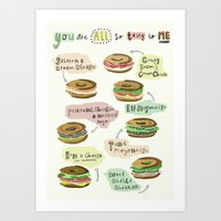 biology Art Prints featuring Bagel Biology by Faye Finney