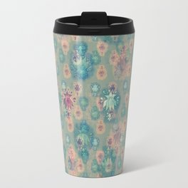 Lotus flower - pistachio green woodblock print style pattern Travel Mug