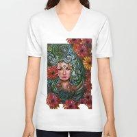 chakra V-neck T-shirts featuring Chakra Sadhna by Harsh Malik