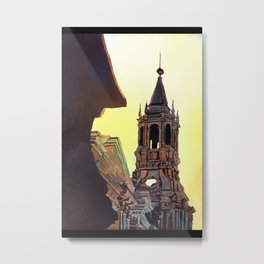 Watercolor painting of the Cathedral on the Plaza de Armas in Arequipa, Peru. Metal Print
