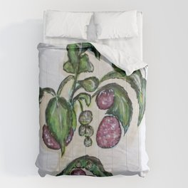 Hanging Raspberries Comforters