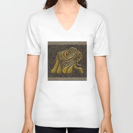 African elephant with ethnic motives Unisex V-Neck