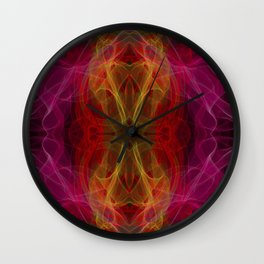 Abstract and symmetrical texture in the form of colorful smoke clouds. Wall Clock