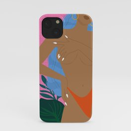 Handful // Woman, Femme, Feminine, Pink, Blue, Plants, Cute, Thong iPhone Case