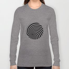 Black And White Op Art Spiral Long Sleeve T-shirt