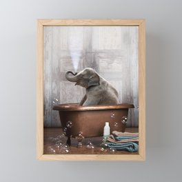 Elephant in Vintage Bathtub Framed Mini Art Print