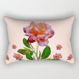 PINK ROSES CORAL BOTANICAL VINTAGE ART Rectangular Pillow